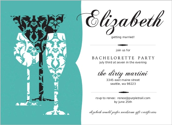 Turquoise Damask Drinks Bachelorette Party Invitation – Bachelor Party Email Invite