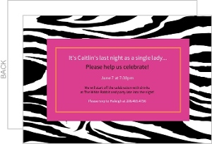 Zebra Stripes And Pink Bachelorette Party Invitation