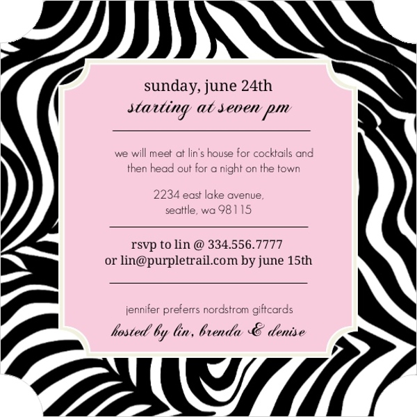 zebra print pink frame bachelorette party invitation, Birthday invitations