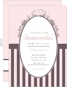 Chocolate And Pink Vintage Mirror Bachelorette Party Invitation