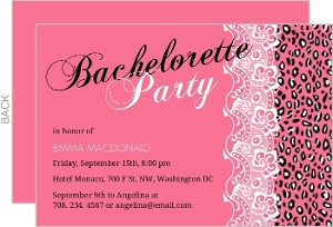 Pink Leopard Print And Lace Girls Night Out Invitation