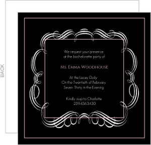Black pink frilly bachelorette party invitation  6549 0 big
