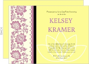 Yellow Lace Flowers Spa Party Invitation