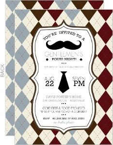 Argyle Gentlmen S Mustache Bachelor Party Invitation