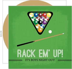 Green Billiards Ball And Cue Game Night Invitation