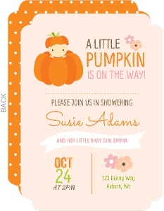 Baby Pumpkin Flowers Baby Shower Invitation