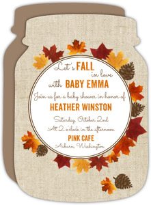 Falling Leaves Pinecone Baby Shower Invitation