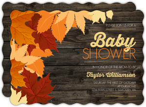 Chestnut Wood Leaves Baby Shower Invitation