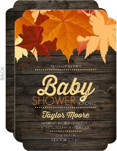 Chestnut Wood Leaves Baby Shower Invitation