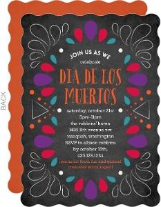 Dia De Los Muertos Colorful Chalk Frame Invitation
