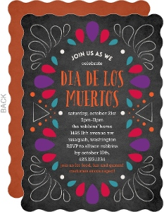 Dia De Los Muertos Colorful Chalk Frame Invitation