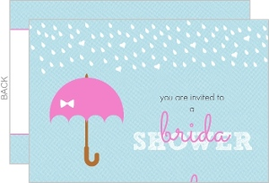 Rain and Umbrella Blue Bridal Shower Invite