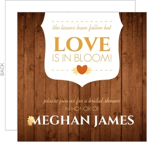 Rustic Fall Leaves Bridal Shower Invitation