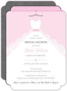 White Wedding Dress Bridal Shower Invite