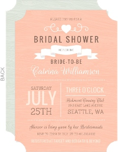 Peach Western Style Bridal Shower Invite