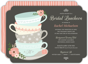 Charming Tea Cups Bridal Shower Invitation