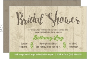Green And Rustic Wood Bridal Shower Invitation