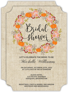 Fall Pumpkin Wreath Bridal Shower Invitation