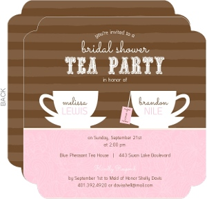 Brown Stripes Tea Cups Bridal Shower Invitation