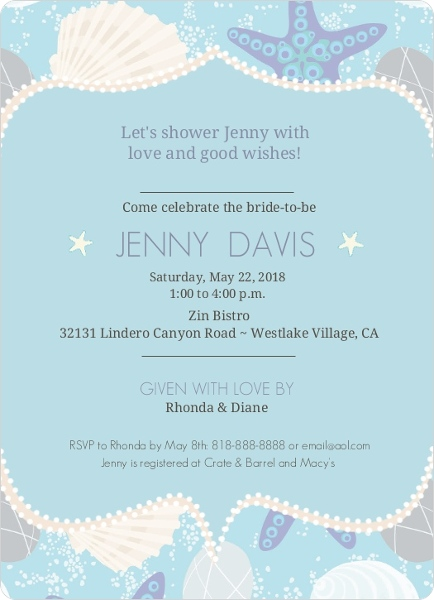 beach shell bridal shower invitation  bridal shower invitations, Bridal shower invitations