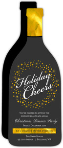 Elegant Champagne Bottle Business Holiday Party Invitation