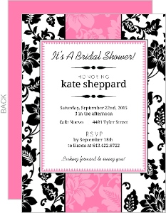 Black White And Pink Floral Bridal Shower Invite