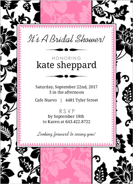 Black white and pink floral bridal shower invite bridal for Black and white bridal shower invitations
