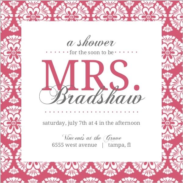 Pink damask bridal shower invite bridal shower invitations for Bridal shower email invitations
