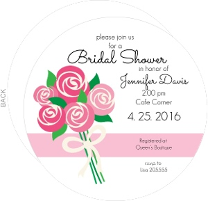 Pink Bouquet of Roses Bridal Shower Invite