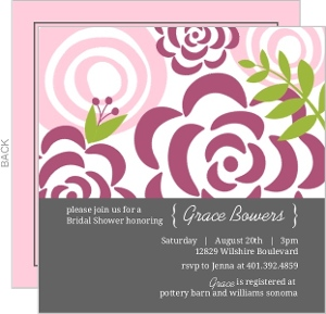 Sophisticated Pink Florals Bridal Shower Party Invitation