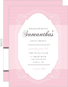 Chocolate And Pink Vintage Mirror Bridal Shower Invitation