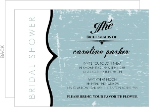 Blue Rustic Door And Frame Bridal Shower Invitation