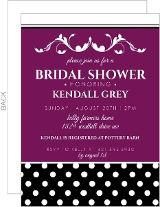 Purple And Black Formal Bridal Shower Invitation
