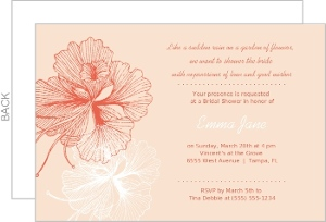 Hibiscus Linework Coral Flower Bridal Shower Invite