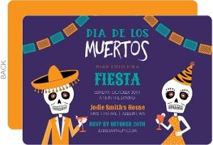 Dia De Los Muertos Confetti Banner Invitation