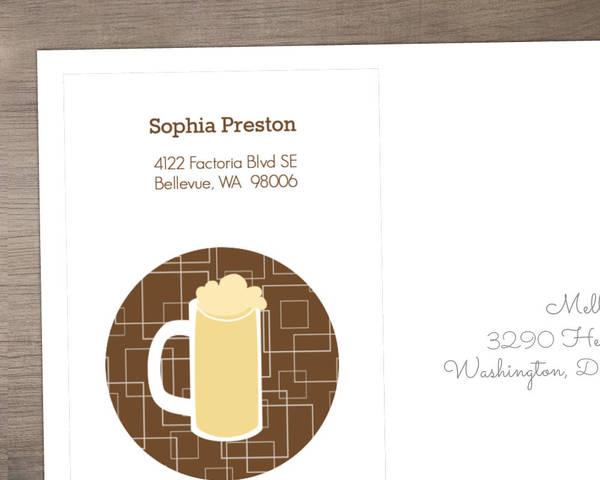 Brown Beers Cheers  40th Birthday Invitation Envelope