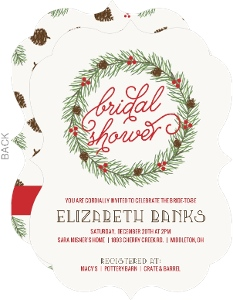 Berry And Pinecone Wreath Bridal Shower Invitation
