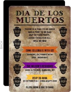 Dia De Los Muertos Rustic Skulls Invitation