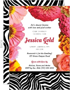 Zebra And Floral Bridal Shower Invitation