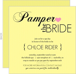 Pampered Yellow Spa Party Invitation