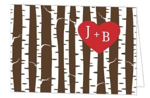 Birch Tree Heart Couples Shower Invite