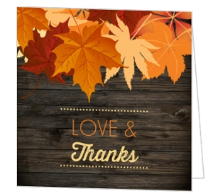 Woodgrain Leaves Thanksgiving Card