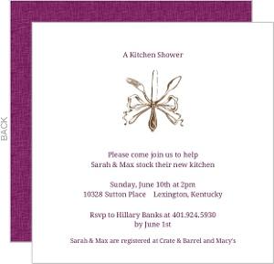 Elegant Silverware Couples Shower Invitation