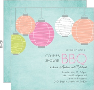 Chinese Lanterns Couples Shower Bbq Invitation