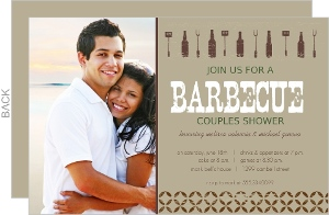 Brown Beer Bottle Couples Shower Barbecue Invite