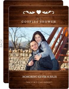 Dark Wooden Couples Shower Invitation