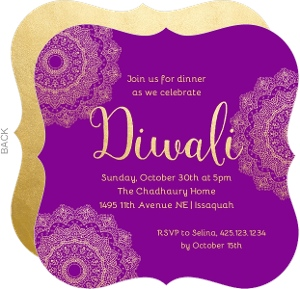 Purple and Gold Diwali Invitation
