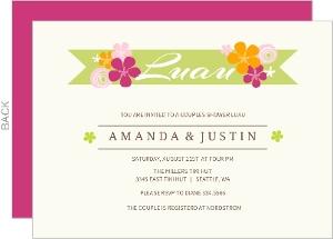Hawaiian Flowers Couples Shower Luau Invitation