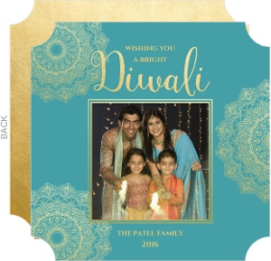 Teal and Faux Gold Photo Diwali Card