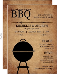 Rustic Bbq Couples Shower Invitation